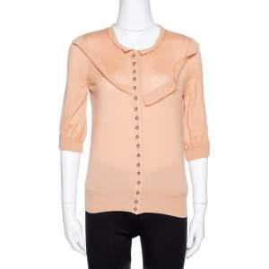 Louis Vuitton Pale Orange Cashmere Button Front Cardigan S