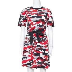 Louis Vuitton Red Printed Silk & Cotton Tie Front Dress M