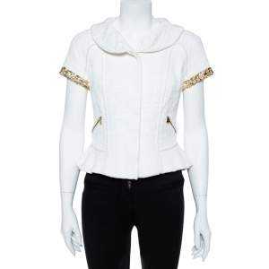 Louis Vuitton White Cotton Blend Jewel and Pearl Embellished Short Sleeve Jacket M