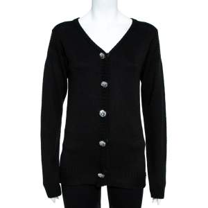 Louis Vuitton Black Knit Button Front Cardigan S