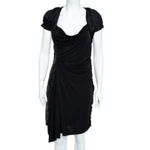 Louis Vuitton Black Jersey Ruffle Trim Ruched Dress M