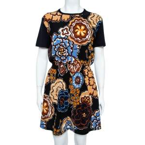 Louis Vuitton Black Floral Print Mini Dress L