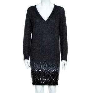 Louis Vuitton Black Wool Sequin Embellished Sweater Dress L