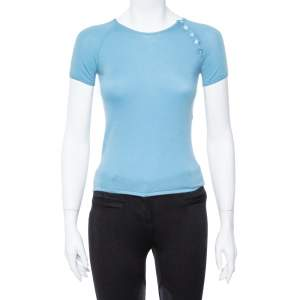 Louis Vuitton Powder Blue Cashmere Monogram Buttoned Top S