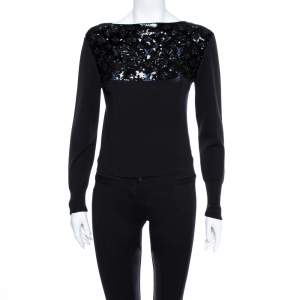 Louis Vuitton  Black Sequin Embellished Cashmere Sweater S