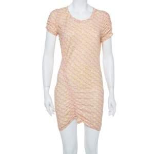 Louis Vuitton Pink Logo Monogram Cotton Ruched Tunic XL