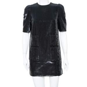 Louis Vuitton Black Sequin Embellished Short Sleeve Shift Dress M