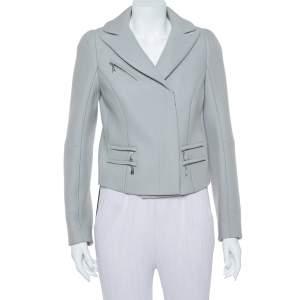 Louis Vuitton Grey Wool Zipper Front Cropped Blazer M