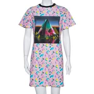 Louis Vuitton Pink Printed Cotton Sweatshirt Dress M