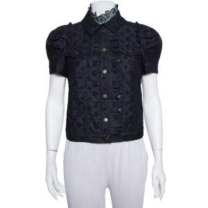 Louis Vuitton Indigo Monogram Eyelet Embroidered Denim Short Sleeve Shirt M