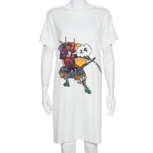 Louis Vuitton Cream Knit Sequin Embellished Samurai Detail T-Shirt Dress L