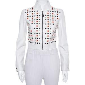 Louis Vuitton Ivory Leather Eyelet Detail Cropped Biker Jacket S