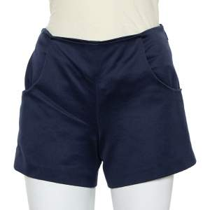 Louis Vuitton Navy Blue Cotton Button Detail Shorts S