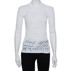 Louis Vuitton White Lace Knit Crewneck Top S