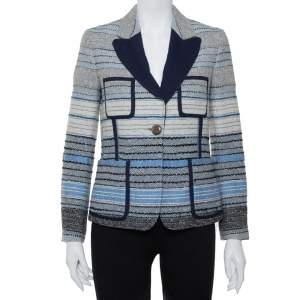 Louis Vuitton Navy Blue Striped Wool Tweed Button Front Blazer M
