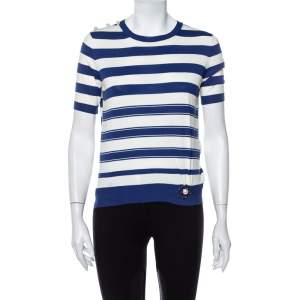Louis Vuitton Blue & White Striped Cotton Shoulder Button Detail Top XS