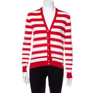 Louis Vuitton Red & Cream Striped Cotton Knit Pearl Button Front Cardigan XS