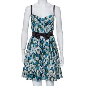 Louis Vuitton Blue Floral Printed Silk Belted Bustier Mini Dress M