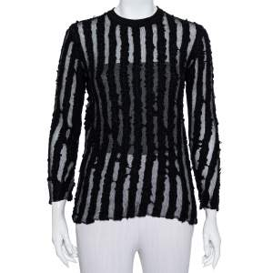 Louis Vuitton Black Wool & Mesh Striped Crewneck Sweater M