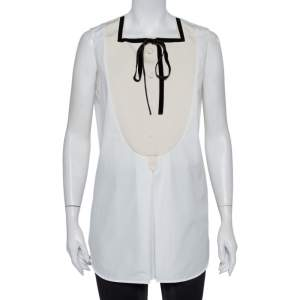 Louis Vuitton White Cotton Contrast Trim Neck Tie Detail Sleeveless Shirt L