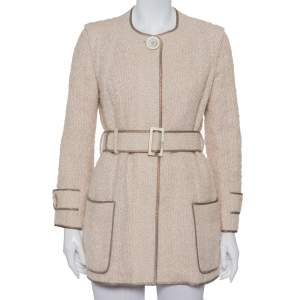 Louis Vuitton Cream Wool & Mohair Button Front Belted Jacket M