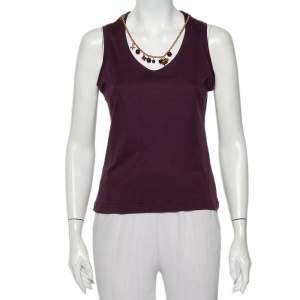 Louis Vuitton Purple Cotton Knit Neck Charm Detail Tank Top L