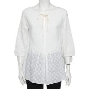 توب لوي فيتون قطن مطرز أبيض قصات متباينة تفاصيل ربطة عنق مقاس كبير - لارج
