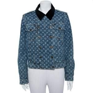 Louis Vuitton Blue Logo Monogram Denim Contrast Collar Detail Jacket L