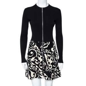 Louis Vuitton Black Rib Knit & Printed Wool Zip Front Mini Dress S