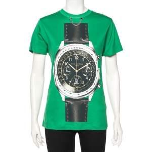 Louis Vuitton Green Printed Jersey Chain Detail Short Sleeve T-Shirt S