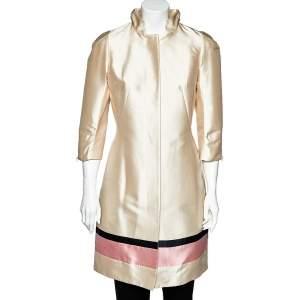 Louis Vuitton Light Pink Silk Striped Hem Detail Coat Dress M