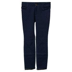 Louis Vuitton Navy Blue Monogram Jacquard Denim Jeans S