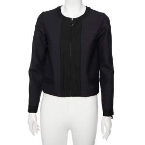 Louis Vuitton Navy Blue Checkered Wool Contrast Trim Zip Front Collarless Jacket M
