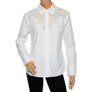 Louis Vuitton White Cotton & Eyelet Embroidered Yolk Detailed Button Front Shirt L