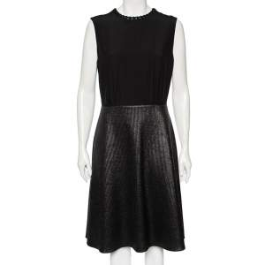 Louis Vuitton Black Metallic Coated Knit & Leather Trimmed Sleeveless Dress L