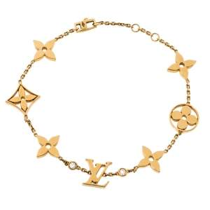Louis Vuitton Idylle Blossom Monogram Diamond 18K Yellow Gold Station Bracelet