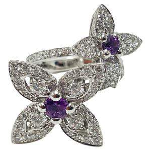 Louis Vuitton 18K White Gold Les Luxuriantes Amethyst Diamond Ring Size EU 54.5