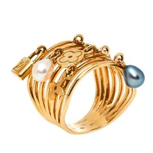 Louis Vuitton Monogram Charm Cultured Pearl 18K Yellow Gold Cocktail Ring Size 54