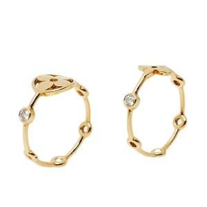 Louis Vuitton Monogram Idylle Blossom Diamond 18k Yellow Gold Set of Two Rings Size 57