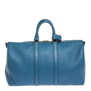 Louis Vuitton Blue Taurillon Leather Keepall Bandouliere 45