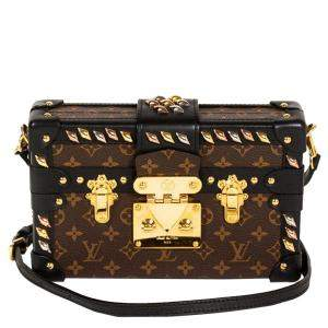 Louis Vuitton Monogram Canvas Studded Petite Malle Bag
