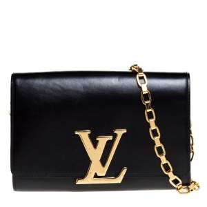 Louis Vuitton Black Leather Louise Chain Clutch