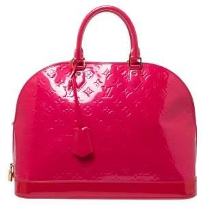 """حقيبة لوي فيتون """"ألما جي إم"""" جلد لامع مونوغرامي وردي فوشيا"""