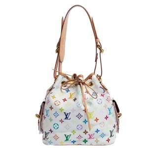 Louis Vuitton White Mutlticolor Monogram Canvas and Leather Petit Noe Bag