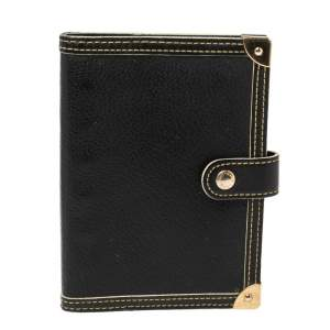 Louis Vuitton Black Suhali Leather Small Ring Agenda Cover