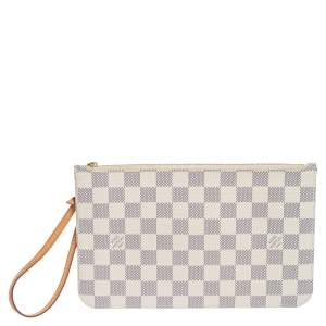 Louis Vuitton Damier Azur Canvas Neverfull Zipped Clutch