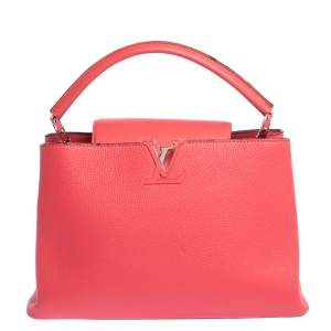 Louis Vuitton Coquelicot Taurillon Leather Capucines MM Bag