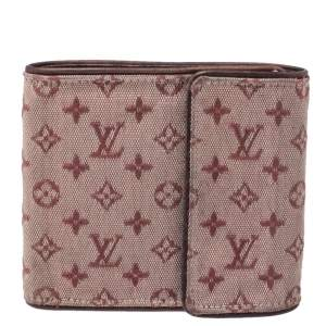 Louis Vuitton Red Mini Lin Canvas Compact Wallet