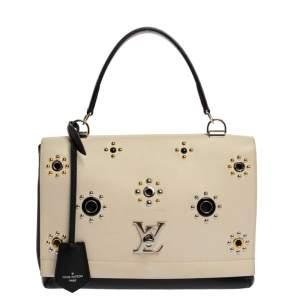 Louis Vuitton Black/White Leather Lockme II Mechanical Flower Bag
