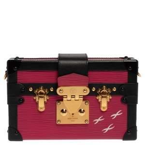 Louis Vuitton Fuchsia/Black Epi Leather Petite Malle Bag
